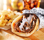 Greek gyro with fries close up Royalty Free Stock Image