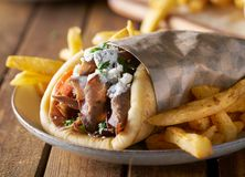 Greek gyro with lamb meat and feta cheese. With selective focus stock images