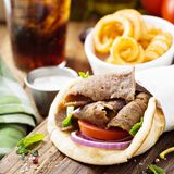 Greek gyro pita wrap. With curly fries Stock Images