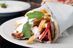 Greek Gyro Pita Wrap Stock Images