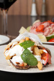 Greek Gyro Pita Wrap. Traditional Gyro sandwich with meat  tzatziki sauce tomato onions and fried potato garnished with mint. Shallow depth of field Royalty Free Stock Photography