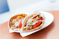 Greek Gyros. On a plate Stock Photography