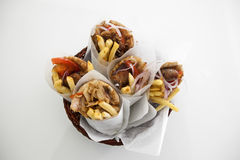 Greek gyros in a plate. Under studio lights Royalty Free Stock Photography