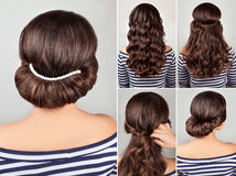 Greek hairstyle tutorial. Greek style hairdo with string of pearls tutorial. Hairstyle for long hair. Sea style royalty free stock photos