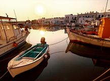 Greek harbor or seaport Stock Image