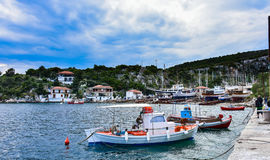 Greek harbour, traditional fishing boats with nets Stock Photography