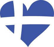 Greek Heart. Illustration of a heart in greek flag colors Stock Images