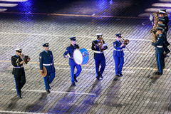 The Greek Hellenic Military Massed Band at the Red Square. MOSCOW, RUSSIA - AUGUST 26, 2016: Spasskaya Tower international military music festival. The Greek Stock Photography