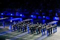 The Greek Hellenic Military Massed Band at the Red Square. MOSCOW, RUSSIA - AUGUST 26, 2016: Spasskaya Tower international military music festival. The Greek Royalty Free Stock Photo