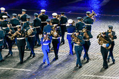 The Greek Hellenic Military Massed Band at the Red Square. MOSCOW, RUSSIA - AUGUST 26, 2016: Spasskaya Tower international military music festival. The Greek Stock Photos