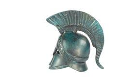 Greek helmet. Classical ancient greek helmet of cooper isolated on white Stock Image