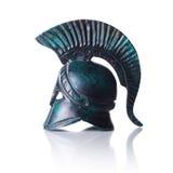 Greek helmet. Classical ancient greek helmet of cooper  on white Royalty Free Stock Photos
