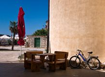 Greek holiday noon. Crete. The beauty of the bright sun. In Grece royalty free stock image