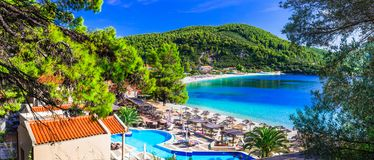 Greek holidays ,Panormos bay,view with hotel and beach. stock photography