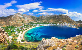 Greek holidays - Serifos island, Cyclades island. Panoramic view of Serifos island,Cyclades,Greece.Azure sea and mountains Royalty Free Stock Images