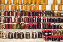 Greek homemade jam and canned food on the shelves of local shops. Greece royalty free stock photography