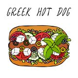 Greek Hot Dog. Feta Cheese, Basil. Olives, Lettuce Salad, Tomato, Cucumber. Fast Food Collection. Hand Drawn High. Quality Vector Illustration. Doodle Style Royalty Free Stock Image