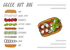 Greek Hot Dog Ingredients Constructor. Feta Cheese, Basil. Olives, Lettuce Salad, Tomato, Cucumber. Fast Food Collection. Hand Drawn High Quality Vector Stock Photos