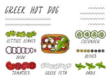 Greek Hot Dog Ingredients Constructor. Feta Cheese, Basil. Olives, Lettuce Salad, Tomato, Cucumber. Fast Food Collection. Hand Drawn High Quality Vector Royalty Free Stock Images