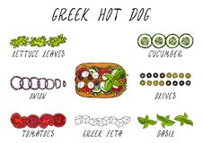 Greek Hot Dog Ingredients Constructor. Feta Cheese, Basil. Olives, Lettuce Salad, Tomato, Cucumber. Fast Food Collection. Hand Drawn High Quality Vector Royalty Free Stock Photo
