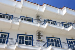 Greek hotel. Building in a Greek hotel Royalty Free Stock Photo