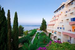 Greek hotel at morning Royalty Free Stock Image