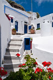 Greek house. Typical greek house in blue and white on top of the caldera in Santorini, Greece Royalty Free Stock Images