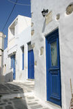 GREEK HOUSE. Typical greek cycladic house with blue doors Royalty Free Stock Photography