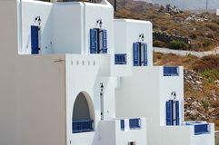 Greek house. Traditional greek white house with blue windows and doors Royalty Free Stock Images