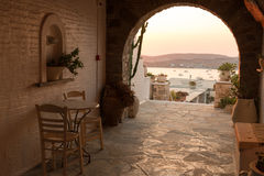Greek house. Hall of traditional Greek house on Paros island Stock Photo