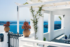 Greek house with terrace and sea view Royalty Free Stock Image