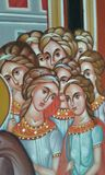 Greek icon. Detail of painted Greek icon of ladies lady with plaited hair. Fodele. Crete. Greece Stock Photos