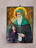 Greek Icon. Greek orthodox antique St. Antony icon on the wall royalty free stock image