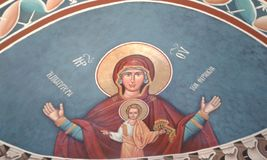 Greek icon 4. Painted Greek icon of woman and child. Beach church. Fodele. Crete. Greece Royalty Free Stock Image