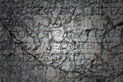 A Greek inscription carved in stone. At ancient ruins Stock Images