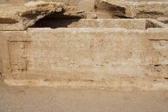 Greek inscription on sarcophagus Stock Images