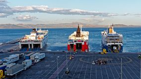Greek Inter Island Ferries, Rafina Port, Greece Stock Photography