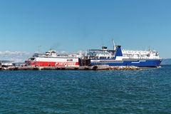 Greek Inter Island Ferries. Two Greek inter island roll on roll off passenger ferries at Rafina Port, Attica, Greece Stock Photos