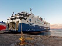 Greek Inter Island Ferry, Rafina Port. A large roll on roll off Greek inter island ferry moored at Rafina Port, Attica, Greece Stock Image