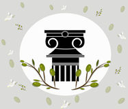 Greek Ionic columns order vintage design with olive leaves branch Vector illustration Royalty Free Stock Images