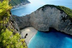 Greek island. Shipwreck on Zakynthos island's beach royalty free stock image