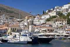 Greek Island. Harbor of the Greek island of Hydra of the Saronic archipelagos, Greece stock photography