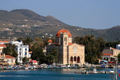 Greek island Aegina. Scenic landscape of Aegina, Greek island. View of town, church and port stock photography