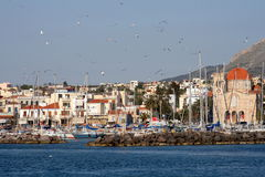 Greek island Aegina. Scenic landscape of Aegina, Greek island. View of town, church and port Royalty Free Stock Photo