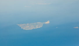 Greek Island Anafi, aerial view. View from an aeroplane of the Greek island Anafi in the Mediterranean sea Stock Image