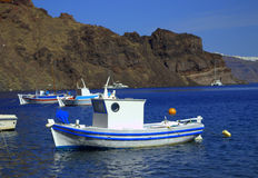 Greek island bay boats Royalty Free Stock Photo