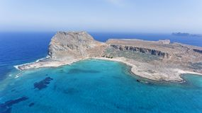 Greek Island blue lagoon, aerial view Stock Images