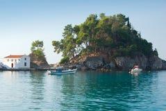 Greek Island Church. Church on small rocky island off Parga, Greece Stock Photography