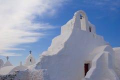 Greek Island Church. Beautiful traditional white church on the Greek Island of Santorini Stock Photo