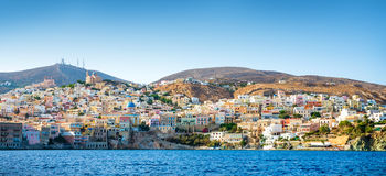 Greek island. With colorful houses and yachts royalty free stock photos